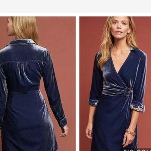 Anthropologie Maeve Blue velvet dress new 🌟🌟
